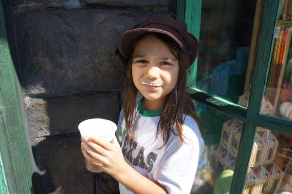 Enjoying Butter Beer; they had regular and frozen...we tried both!
