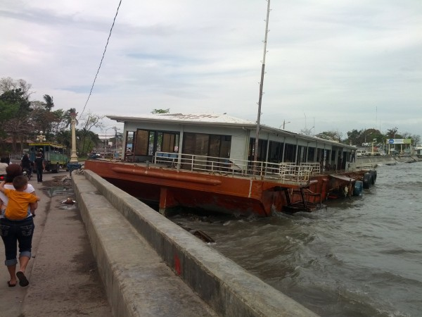 Aftermath of Typhoon Pablo that came through about a month before...this ferry isn't going anywhere