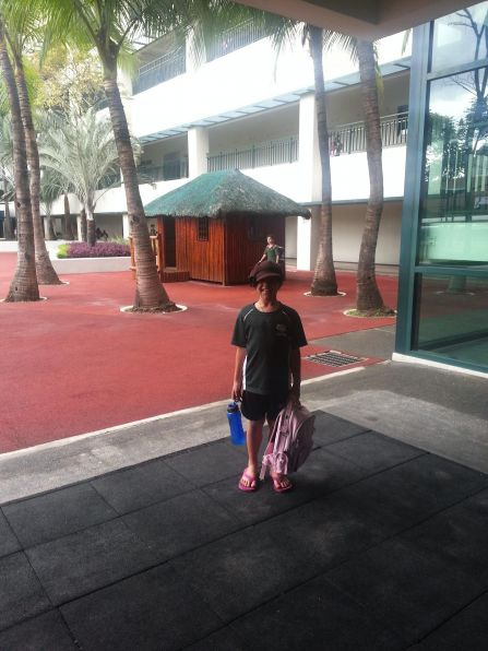 Kalani at her new school (International School of Manila)