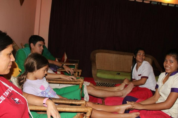 Kalani got her first massage in Cambodia and loved it.