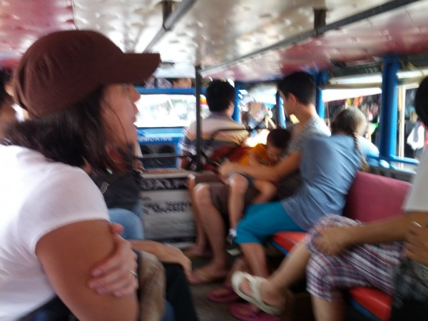 First time for all of us to ride a Jeepney...it got pretty crowded