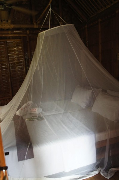 Sleeping under mosquito nets.  Reminded me of mission in El Salvador!