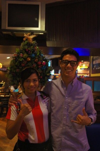 The Philippines love to celebrate Christmas...even at work with crazy head pieces