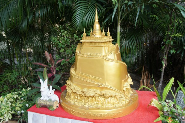 Small replica of Wat Saket Golden Mount...the point from which all distance is measured in Thailand