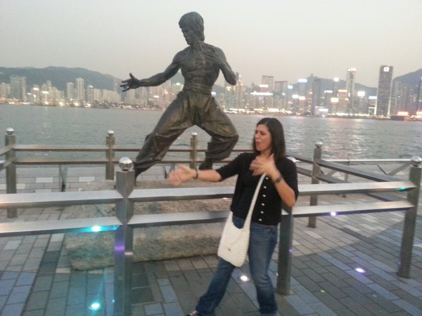 Walking along Avenue of Stars and trying to be like Bruce Lee