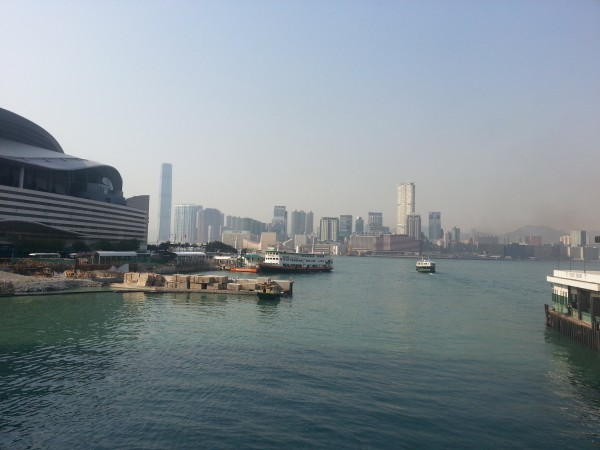 Hong Kong harbor.  The conference was held on &quot;Hong Kong Island&quot; so you either have to take a ferry, the underground, or a taxi over a bridge to cross the water to the other parts of Hong Kong