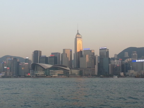 Skyline of Hong Kong.  Every night at 8pm there is a light show where many of these building participate.