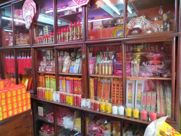 We went inside this Chinese store to learn more about the culture.  We could purchase candles, god statues, paper money to burn, etc.