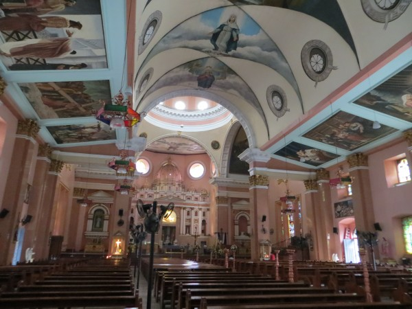 Inside of an old church.  It had some amazing murals on the ceiling