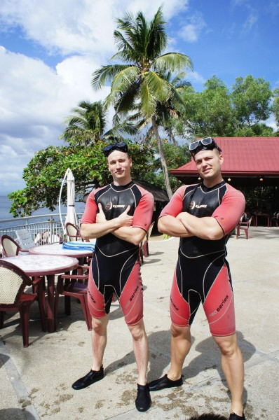The boys went scuba diving at Eagle's Point
