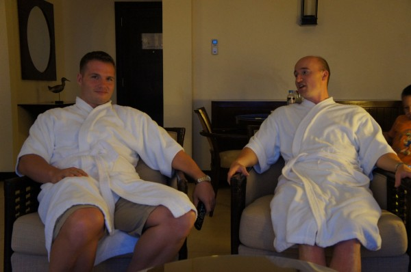 Lounging around at a hotel; the boys wanted to be comfortable!