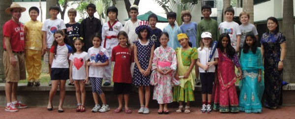 Her classmates on &quot;International Day&quot;