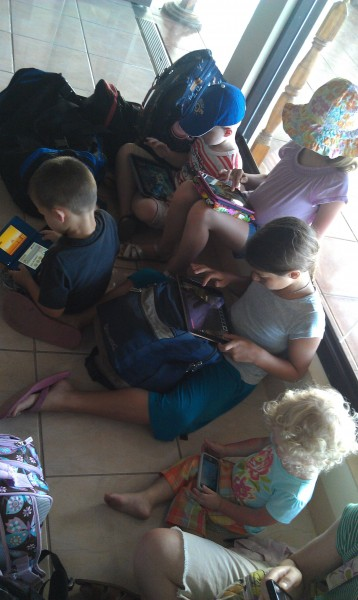 Since we took 5 kids on 4 different airplanes we had to be creative of how to entertain them.  But, we did brake down and just handed everyone an electronic devise while we waited for our plane to arrive.