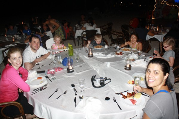 Dinner buffet on the beach and an Easter show our first night