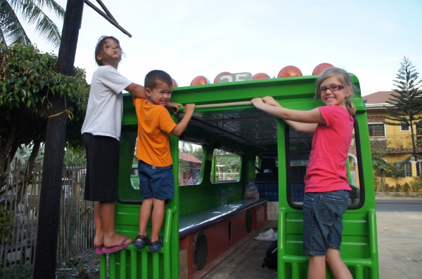 We rented a jeepney for the day to tour Cebu.  The kids liked climbing on the back when we were stopped.