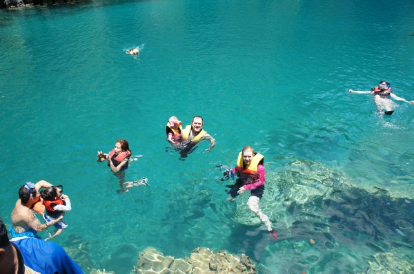 All 9 of us enjoyed snorkeling and seeing all the fish in the clear clear water.