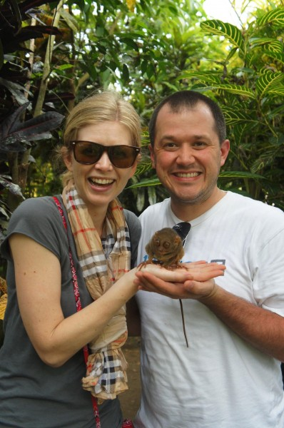 At the last stop of our tour we saw more tarsiers just before closing time and the worker put one on our hands.