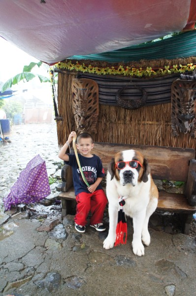 "Mason was excited to get a wooden snake for his treat and to get a photo with this ""cool dog"""
