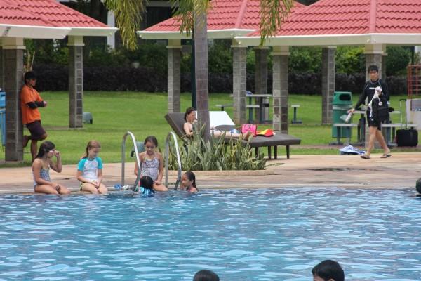 Kalani loved having friends around to swim with.