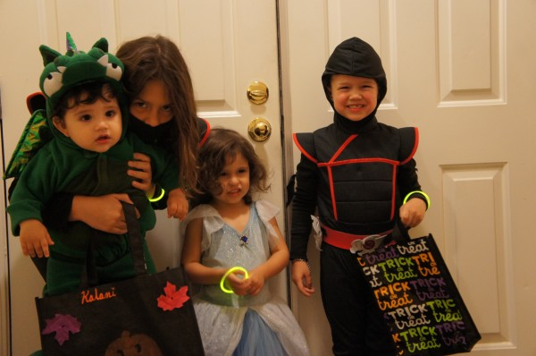 Ready to go Trick-or-Treating with cousins.  We only lasted about an hour or so, but everyone was happy with their loot.