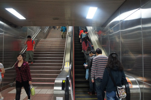 If you are going to stand on an escalator, stay to the right...everyone follows this rule
