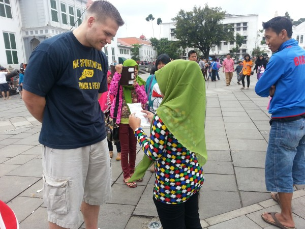 "Next stop was to ""Old Town Jakarta"" where Matt was approached by a few teenagers asking him questions for a school project"