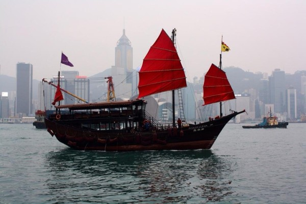 Cool Asian boat at the Hong Kong harbor