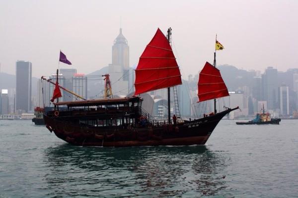 Cool Asian boat at the Hong Kong harbor