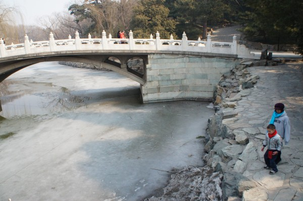The water around the summer palace still had some ice at certain areas