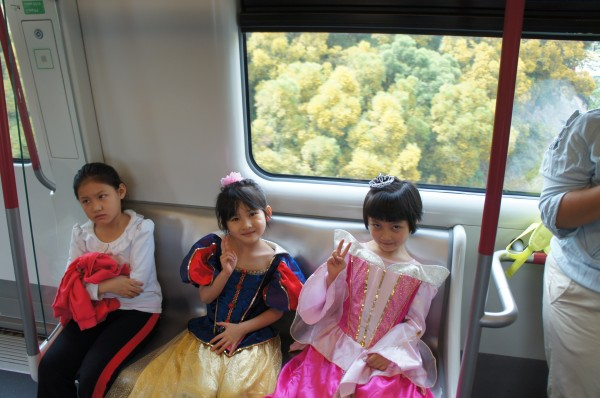 We took the metro to head to Lantau Island. We were headed to the Big Buddha, but these girls were going to Hong Kong Disney