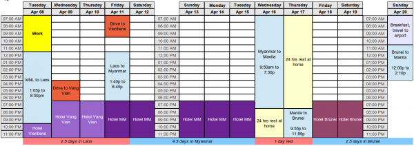 Our schedule for Spring Break 2014