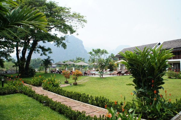 We drove 3 hours from Vientiane to Vang Vieng and stayed at the Riverside Boutique Resort