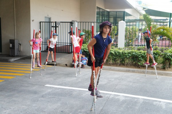 She is pretty good at stilts