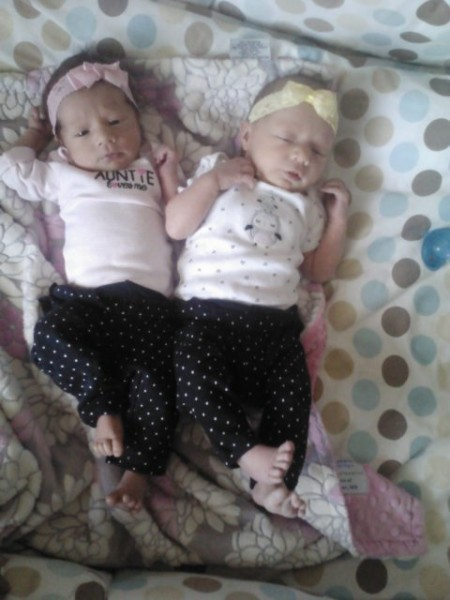 Ruby & Goldyn at 2 weeks old.  Now my parents have 12 grandchildren with 6 girls and 6 boys..with 4 of them being twins
