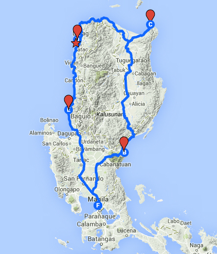 The route we traveled in northern Luzon in 5 days. We discovered once again how beautiful this country is outside of the big city
