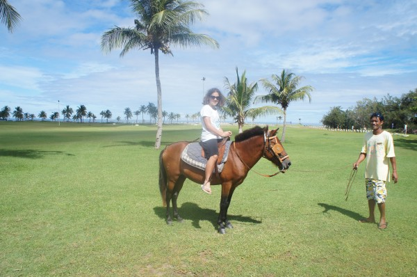 Kalani went horseback riding around the resort and on the beach
