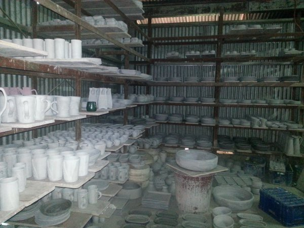 A bunch of pottery after it has been in the kiln and before painted