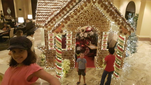 Life-size gingerbread house at the Peninsula Hotel