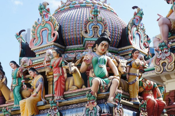 We visited a Hindu temple called Sri Mariamman Temple. The outside roof is full of character