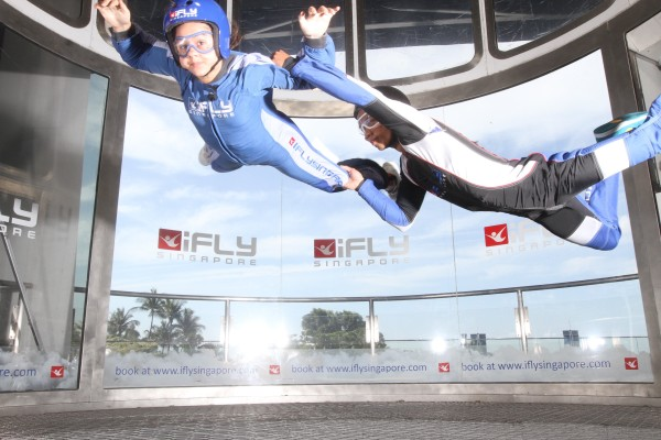 iFly Skydiving Experience was awesome. It is for 7 year olds and older, so Matt, Tia & Kalani participated.