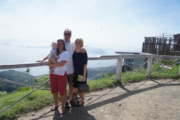 I took them to Tagaytay so they could see the countryside. Here we are with Taal volcano in the background.