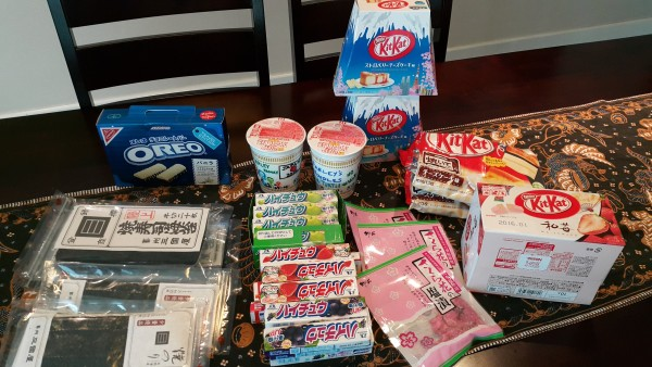 All of the strange and yummy treats that we brought home from Japan.
