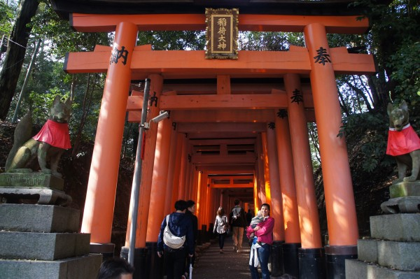 Fushimi Inari Shrine has hundreds of these orange pagodas in a line.