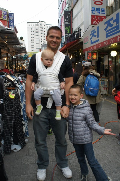 Matt wanted to hold Blake in the Moby Wrap while we walked around the South Gate Market.