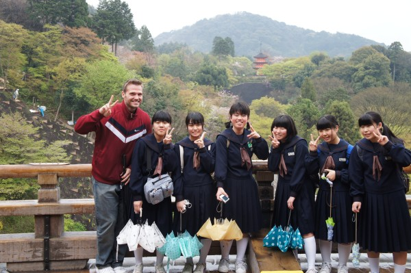 We saw various school students at the tourist places we were visiting. Matt decided to make them all smile and take a photo with a group of school girls.