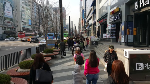 We walked around the street of Gangnam.