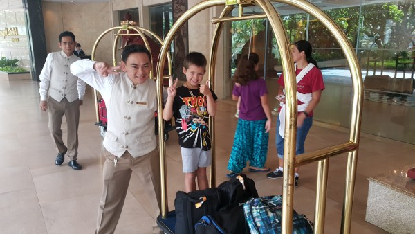 The ambiance, rooms, food and staff are all so great at The Shangri-La. Mason was able to grab a ride with the bell-hop.