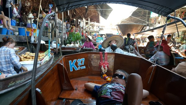We went back to the Damnernsaduak Floating Market. It is crowded with tourists and locals, but such a cool experience.