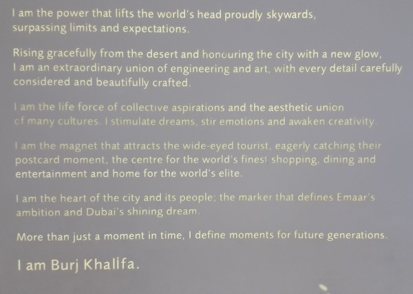 If the Burj Khalifa had a voice, this what it would say.