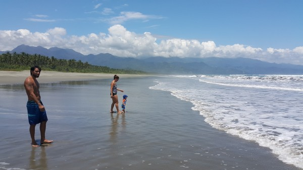 We had the whole beach to ourselves. Everyone had a great time playing in the water.